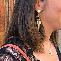 | CHARLOTTE | - Boucles d'oreilles pendantes // Beige