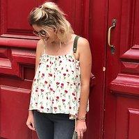 | FLORENTINE |- Caraco ample fleuri // Ecru & rouge