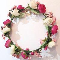 | ROMY | - Grosse couronne de fleurs // Rose