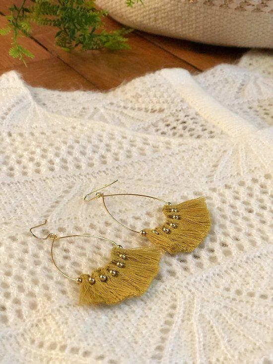 | JANE | - Boucles d'oreilles gouttes pompons et perles