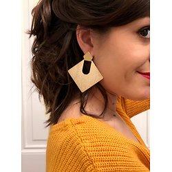 | COLINE | - Boucles d'oreilles fantaisie carrées & irisées