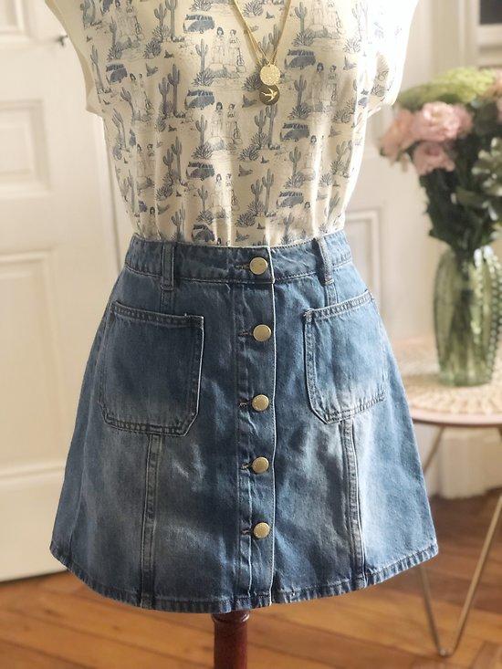 | JOHANNA | - Jupe boutonnée en jean