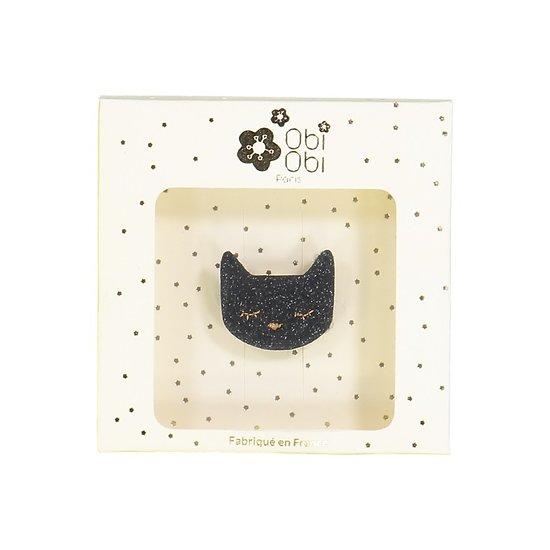 Broche pailletée chat