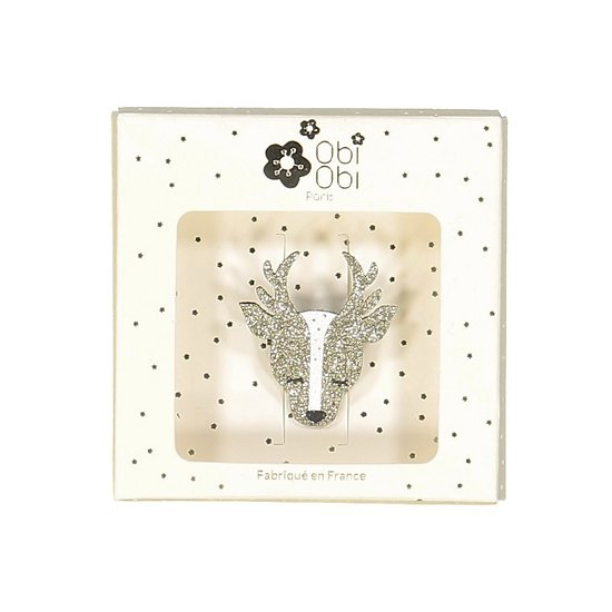 Broche pailletée faon