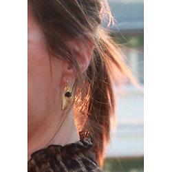 | DARCY | - Boucles d'oreilles feuille + rose