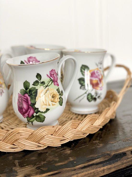 Lot de 6 tasses fleuries