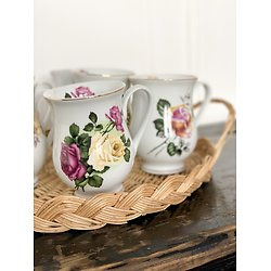Lot de 6 tasses fleuries