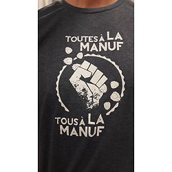 "TeeShirt ""tous et toutes à la Manuf"" bleu unisexe"