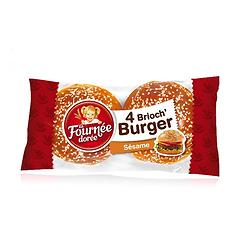 Pain hamburger Brioch'Burger sésame 4 pièces La Fournée Dorée