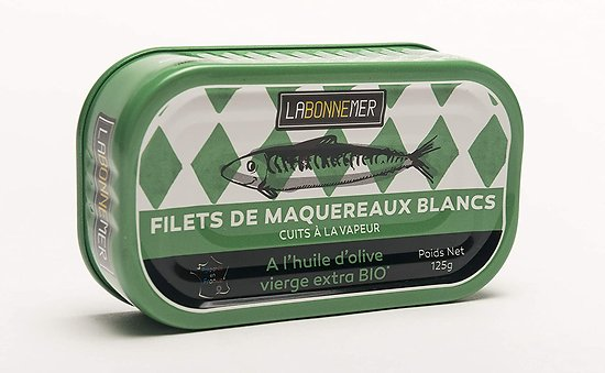 LA BONNE MER - Filets de Maqueraux Blancs - à l'Huile d'Olive Vierge Extra BIO