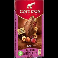 CÔTE D'OR - Lait Raisins & Noisettes Entières