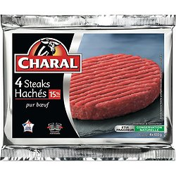CHARAL - 4 Steaks Hachés 15% M.G.