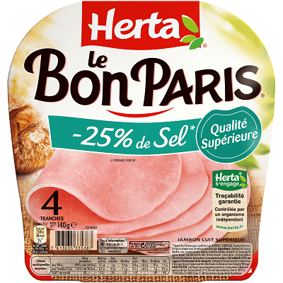 HERTA - Jambon Le Bon Paris -25% Sel