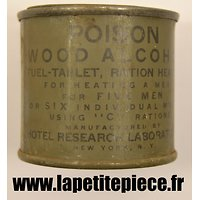 Alcool pour 6 boites ration C. US WW2. WOOD ALCOHOL FUEL-TABLET. Hotel Research Laboratories New York