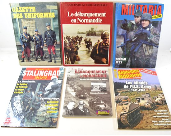 Lot livres militaria : débarquement, Militaria Magazine, véhicules US, Stalingrad...