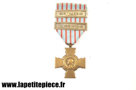 Croix du combattant 1939 - 1945 Citations Bir Hakeim - Tunisie 1942-43