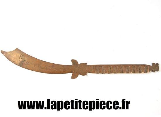 Coupe papier souvenir de La Pompelle - Campagne 1914 - 1915 - 1916