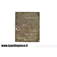Plaque d'instructions emeteur radio 10.W.S.c - Der 10 Watt Sender