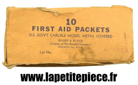 Carton de conditionnement pour 10 FIRST AID PACKET métal vert. US WW2