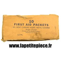 Carton de conditionnement pour 10 FIRST AID PACKET métal vert. US WW2