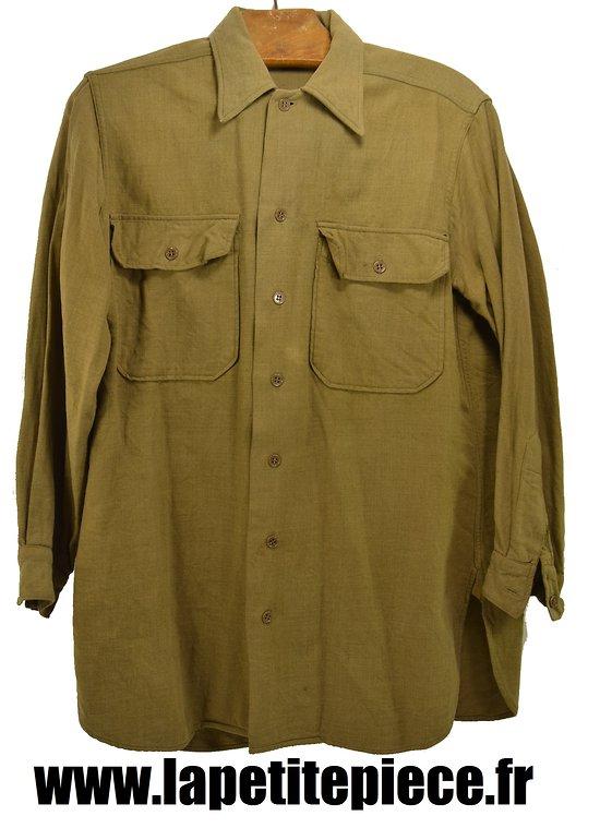 Chemise en flanelle Américaine Deuxième Guerre Mondiale. US WW2 SHIRT FLANNEL OD COAT STYLE 1934