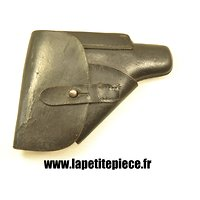 Etui Allemand Walther PP cuir noir, police. Marquage D.R.G.M. WW2