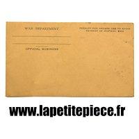 Enveloppe plis de correspondance WAR DEPARTMENT OFFICIAL BUSINESS. US WW2