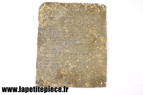 Plaque d'instructions emeteur radio 10.W.S.c - Der 10 Watt Sender