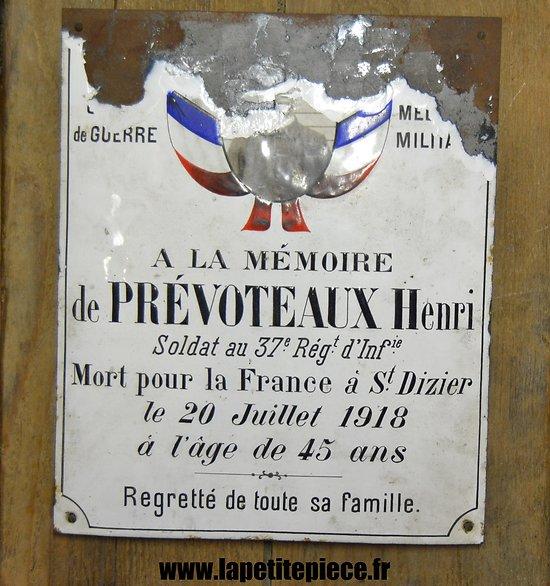 Plaque à la mémoire du soldat Prévoteaux Henri, 37 Régiment d'Infanterie