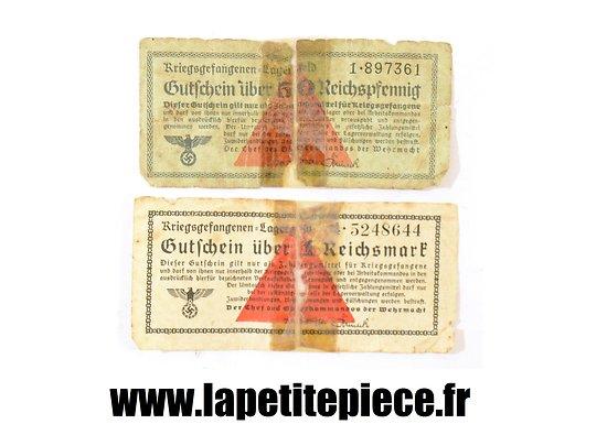 Lot de deux billets de camp Allemand WW2