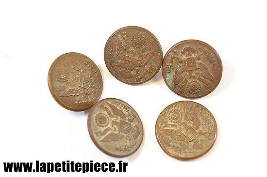Lot 5 boutons américains Première Guerre Mondiale 28mm