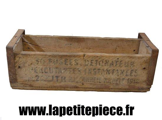 Caisse de transport en bois pour 50 fusées detonateur percutantes instantanées 24mm court modèle 1914