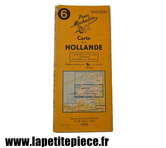 Carte Michelin Hollande 1940
