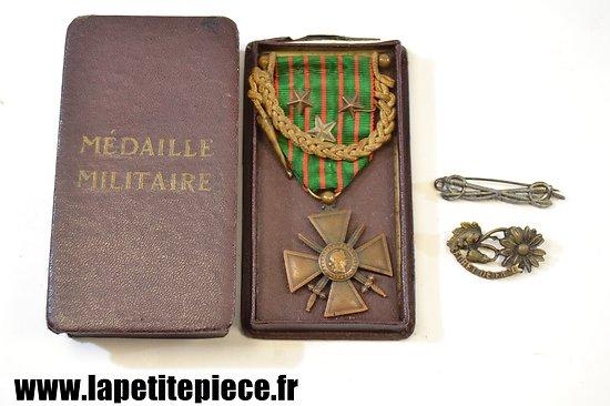 Croix de Guerre 1914-1916 avec fourragère et citations + broche forêt de Facq