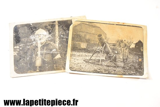 Photographies Première Guerre Mondiale, Minenwerfer et masque à gaz