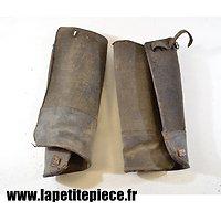 Paire de jambières ersatz (cuir-toile) Première Guerre Mondiale