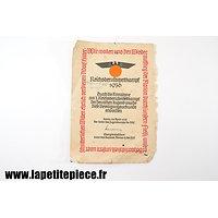 Certificat de participation au Reichsberufswettkampf de 1936
