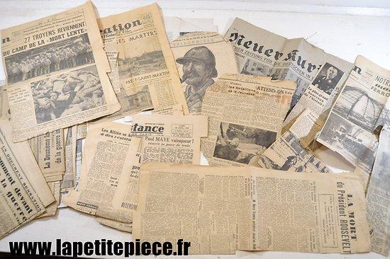 Lot de coupures de presse années 1940 - 1946, libération