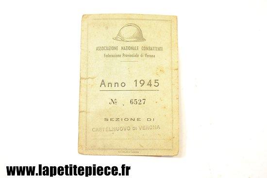 Carte d'ancien combattant Italien 1945 (campagne 1941-1945)
