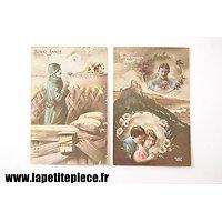 Deux cartes postales fantaisies époque Première Guerre Mondiale