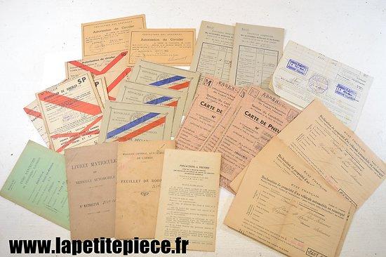Lot documents véhicules gendarmerie années 1940 - 1944