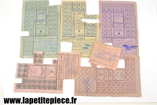 Lot tickets de rationnement - occupation Allemande WW2
