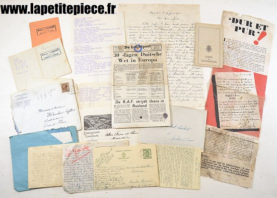 Lot documents / correspondance Belge WW2 - occupation Allemande