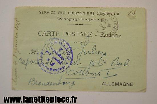 Ticket de colis - 1917 - Prisonniers de Guerre, commission de secours des Ardennes