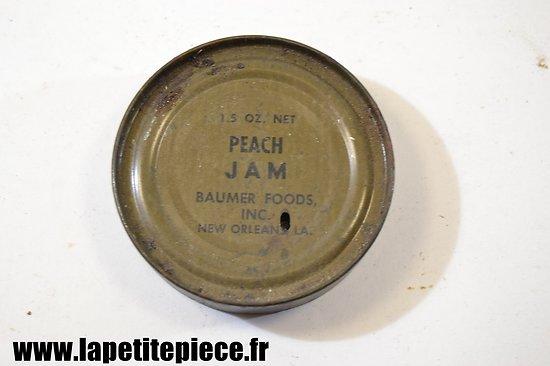 Boite de ration US WW2 - Peach Jam - Baumer Foods inc. New Orleans