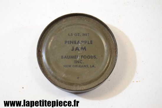 Boite de ration US WW2 - Pineapple Jam - Baumer Foods inc. New Orleans