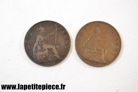Lot deux monnaies Anglaises Première Guerre Mondiale