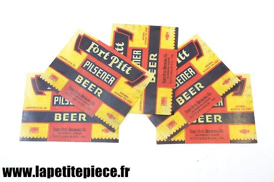 Reproduction étiquette de bière FORT PITT PILSENER rouge et noir, US WW2