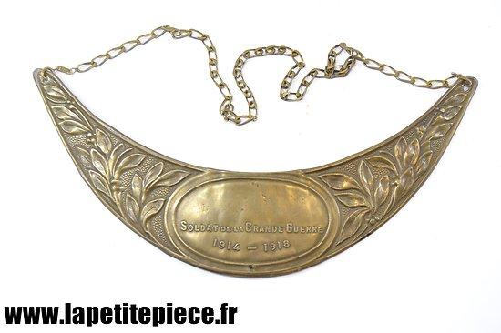Plaque de casque avec chainette SOLDAT DE LA GRANDE GUERRE 1914 1918