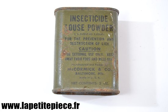 Insecticide Powder for Body Crawling Insects 2oz, US WW2. Boite verte